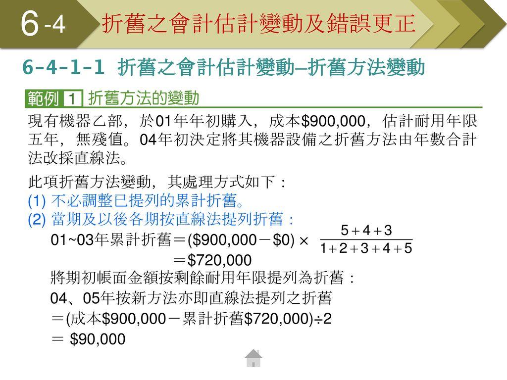 6 -4 折舊之會計估計變動及錯誤更正 6-4-1-1 折舊之會計估計變動─折舊方法變動