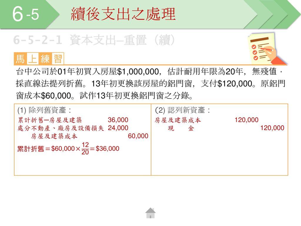 6 -5 續後支出之處理 6-5-2-1 資本支出─重置(續)