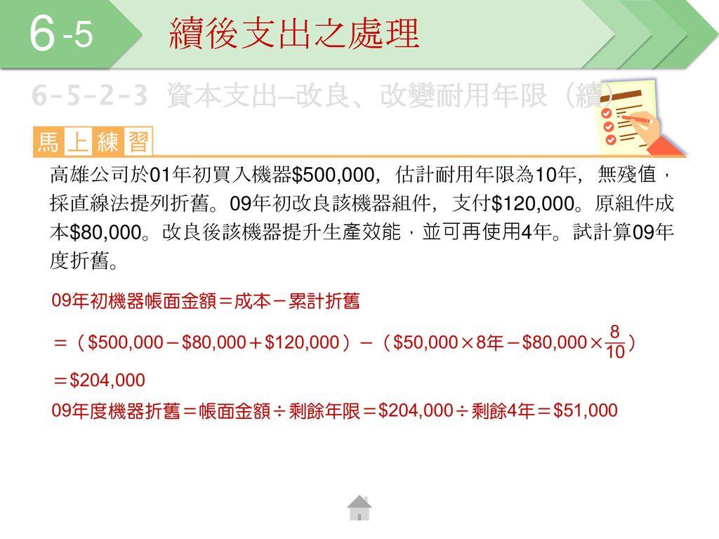 6 -5 續後支出之處理 6-5-2-3 資本支出─改良、改變耐用年限(續)
