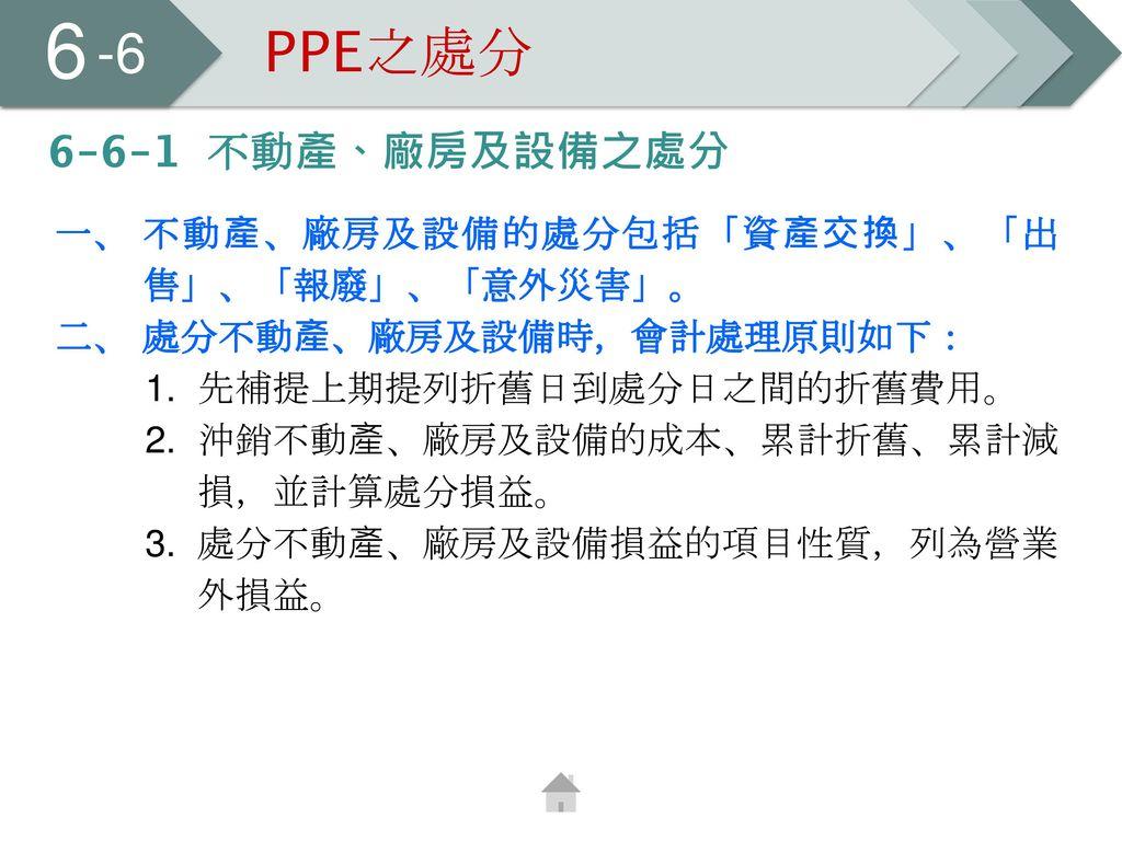 6 -6 PPE之處分 6-6-1 不動產、廠房及設備之處分