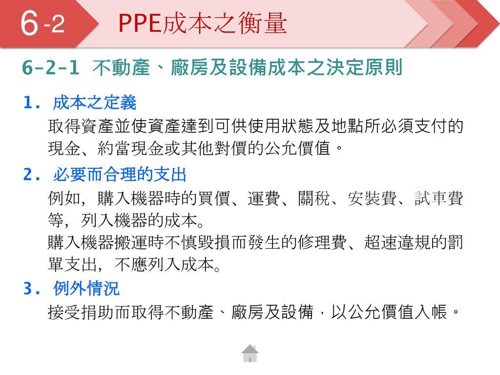 6 5 -2 PPE成本之衡量 6-2-1 不動產、廠房及設備成本之決定原則 1. 成本之定義
