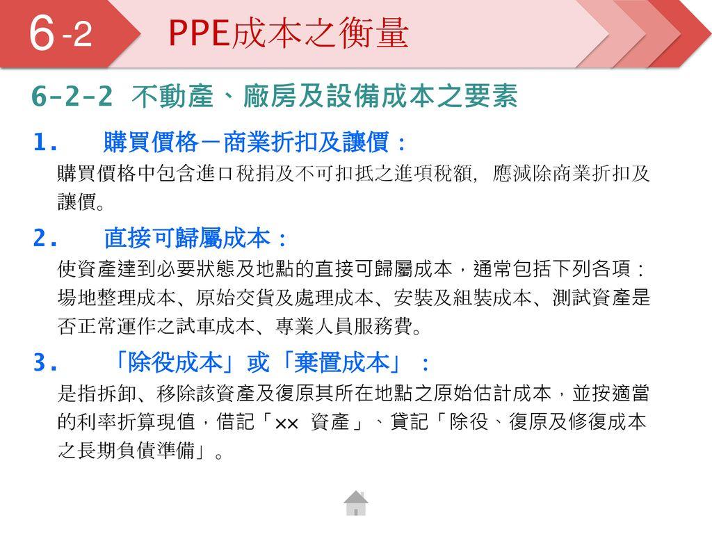 6 5 -2 PPE成本之衡量 6-2-2 不動產、廠房及設備成本之要素