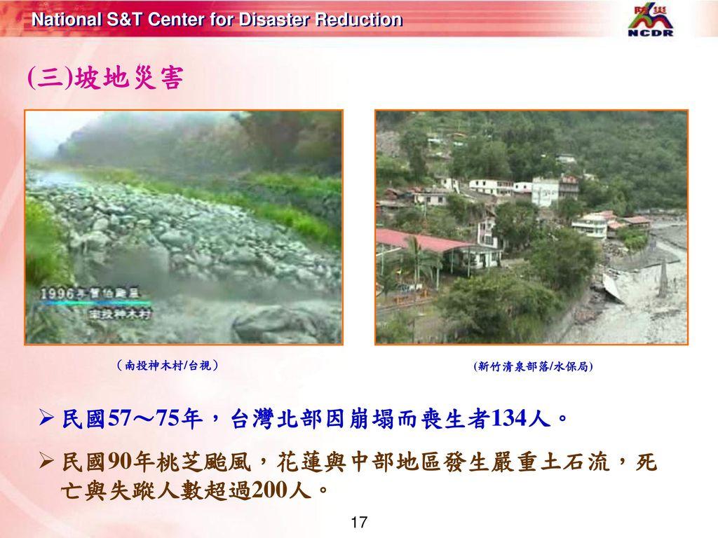 (三)坡地災害 民國57~75年,台灣北部因崩塌而喪生者134人。