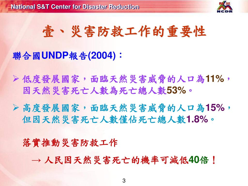 壹、災害防救工作的重要性 聯合國UNDP報告(2004):