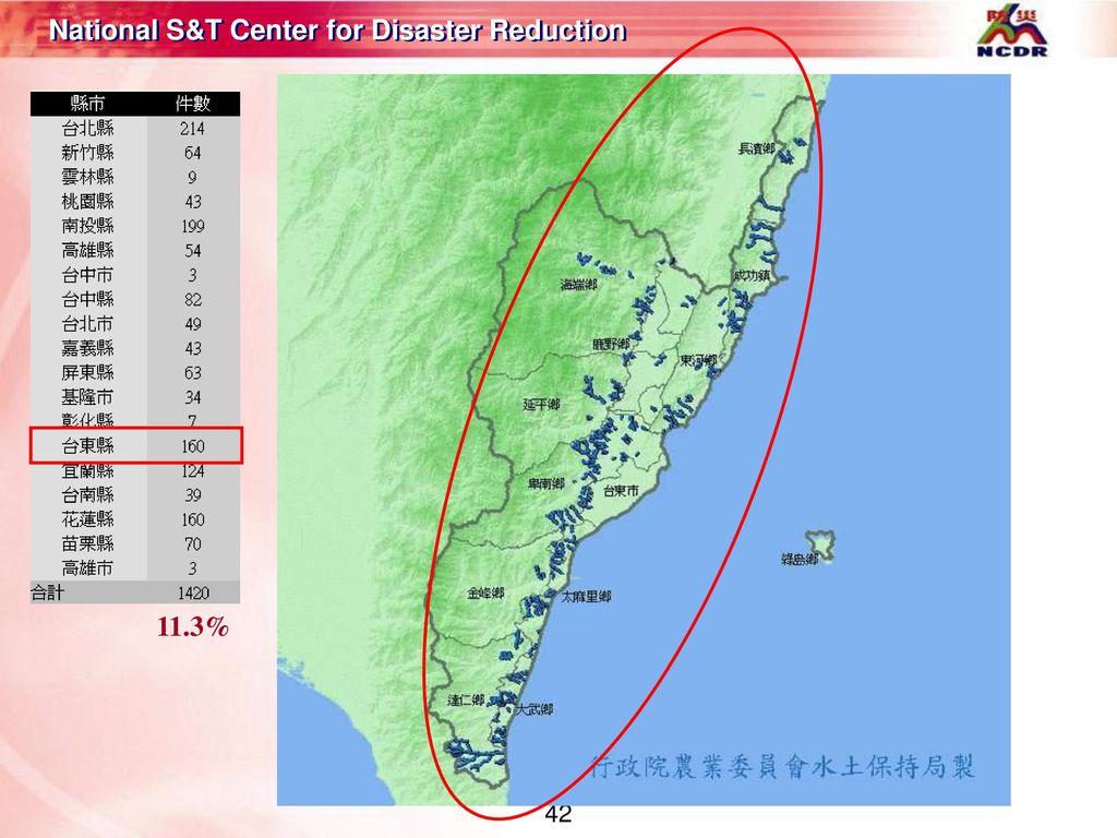 11.3% 雲林縣土石流潛勢溪流分佈圖