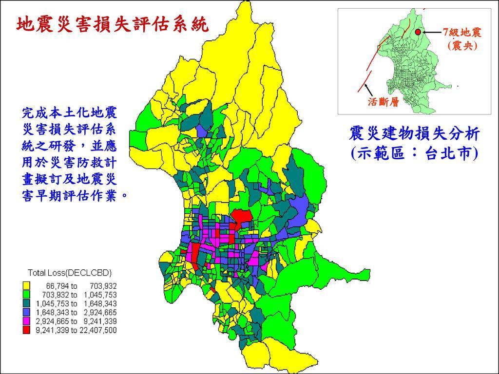地震災害損失評估系統 震災建物損失分析 (示範區:台北市)