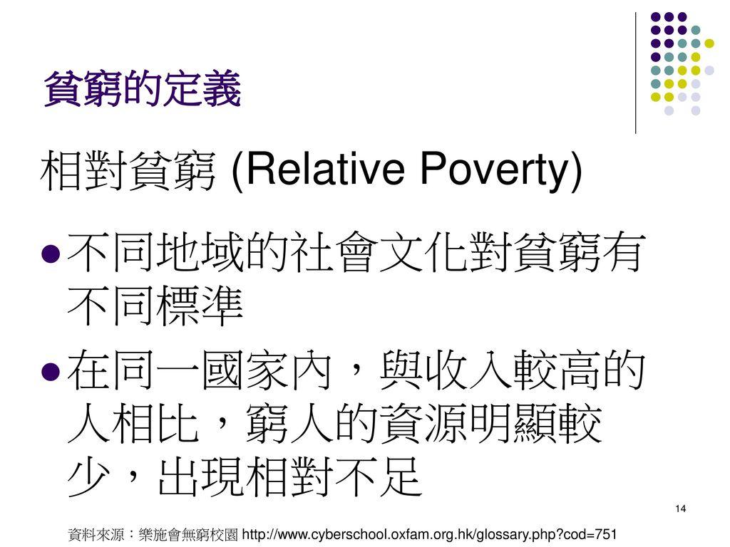 相對貧窮 (Relative Poverty) 不同地域的社會文化對貧窮有不同標準