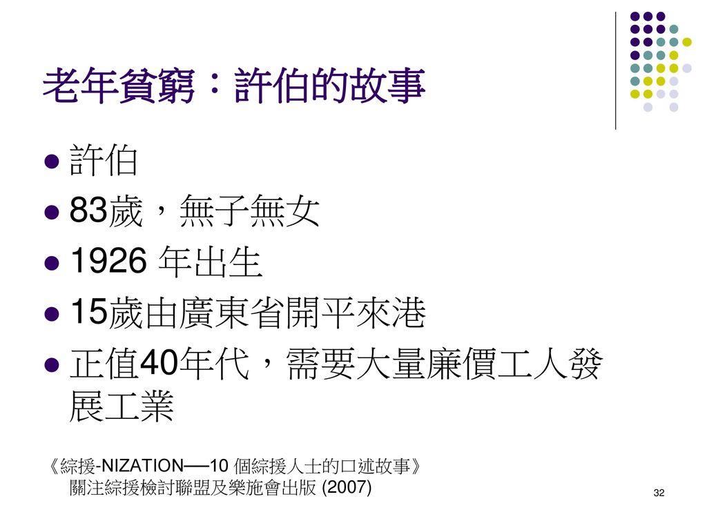 老年貧窮:許伯的故事 許伯 83歲,無子無女 1926 年出生 15歲由廣東省開平來港 正值40年代,需要大量廉價工人發展工業
