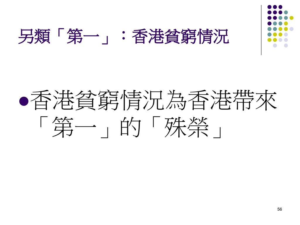 香港貧窮情況為香港帶來「第一」的「殊榮」