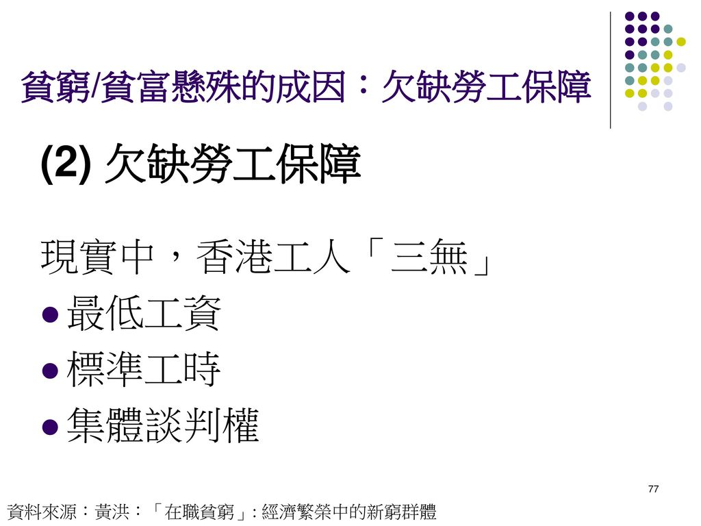 (2) 欠缺勞工保障 現實中,香港工人「三無」 最低工資 標準工時 集體談判權 貧窮/貧富懸殊的成因:欠缺勞工保障