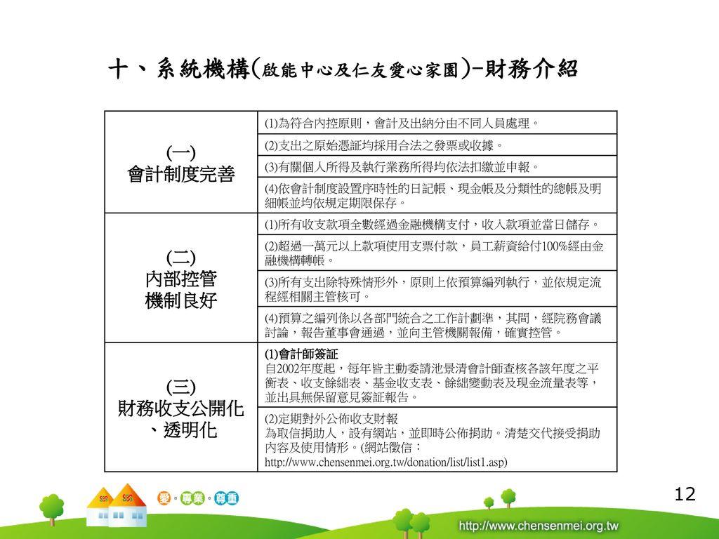 十、系統機構(啟能中心及仁友愛心家園)-財務介紹