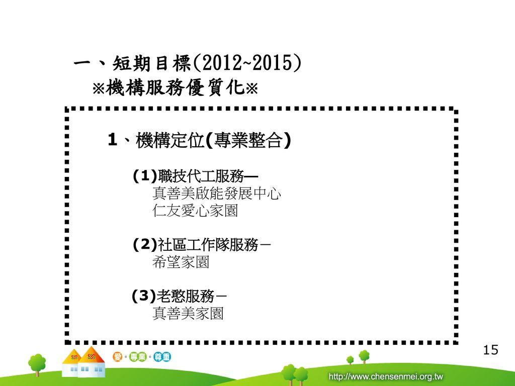 一、短期目標(2012~2015) ※機構服務優質化※ 1、機構定位(專業整合) (1)職技代工服務— 真善美啟能發展中心 仁友愛心家園