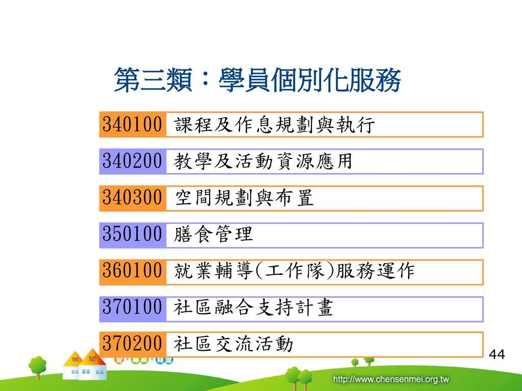 R 第三類:學員個別化服務 340100 課程及作息規劃與執行 340200 教學及活動資源應用 340300 空間規劃與布置