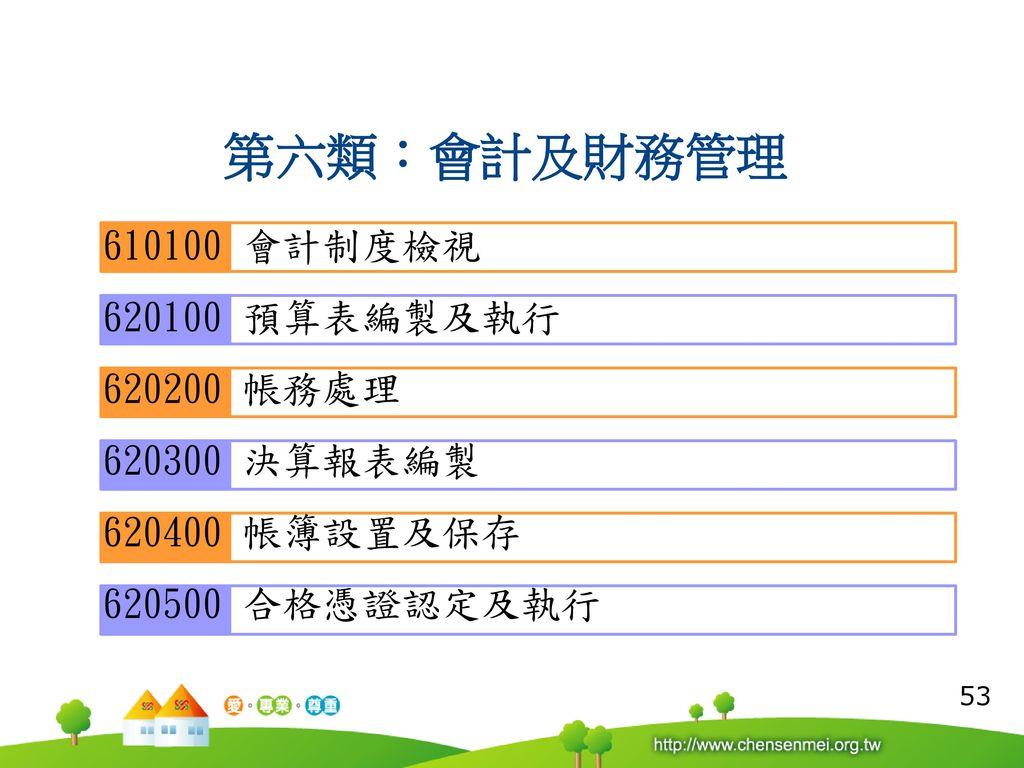 第六類:會計及財務管理 610100 會計制度檢視 620100 預算表編製及執行 620200 帳務處理 620300 決算報表編製
