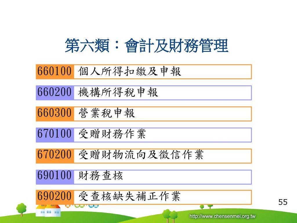 第六類:會計及財務管理 660100 個人所得扣繳及申報 660200 機構所得稅申報 660300 營業稅申報 670100 受贈財務作業