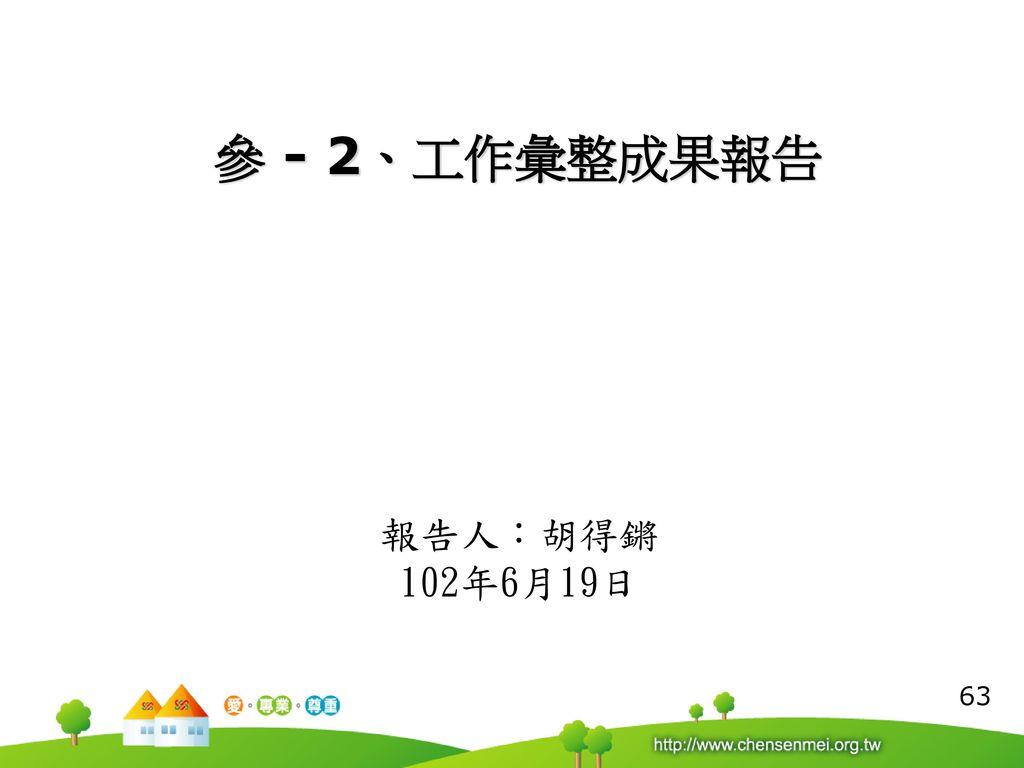 參 - 2、工作彙整成果報告 報告人:胡得鏘 102年6月19日 63