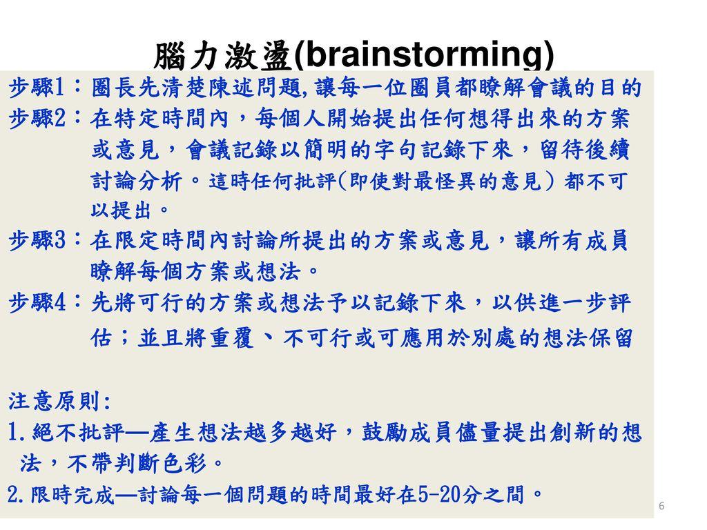 腦力激盪(brainstorming) 步驟1:圈長先清楚陳述問題,讓每一位圈員都瞭解會議的目的