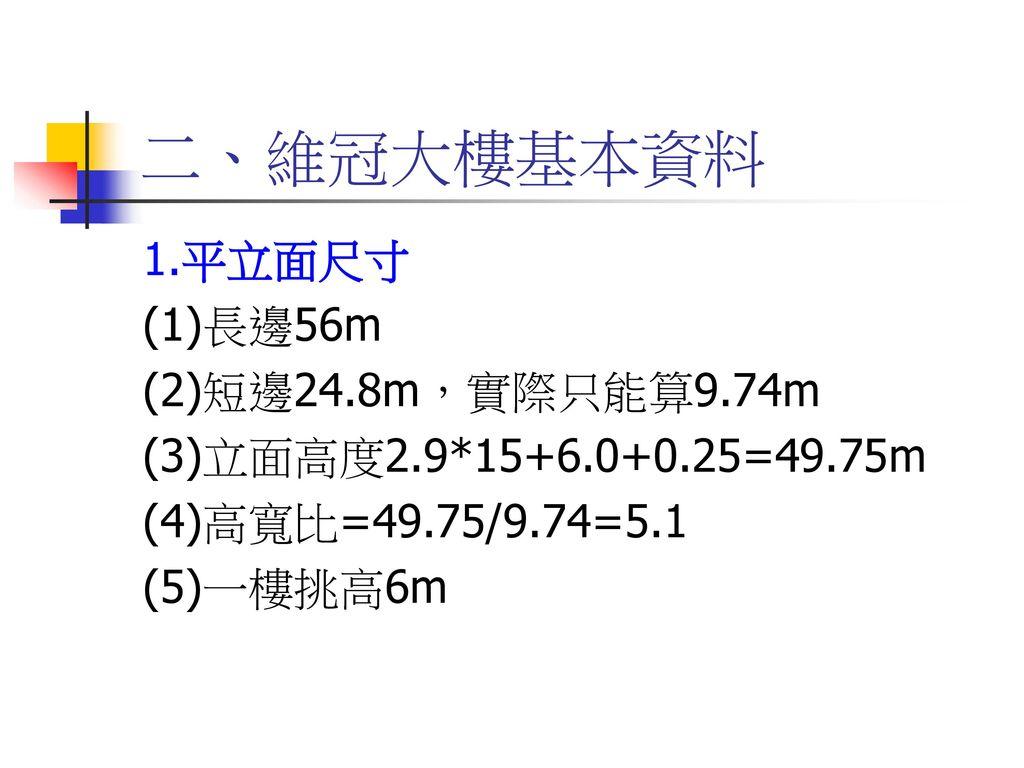 二、維冠大樓基本資料 1.平立面尺寸 (1)長邊56m (2)短邊24.8m,實際只能算9.74m