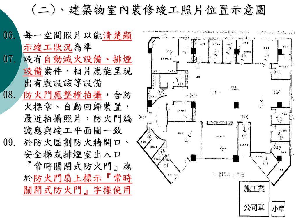 (二)、建築物室內裝修竣工照片位置示意圖