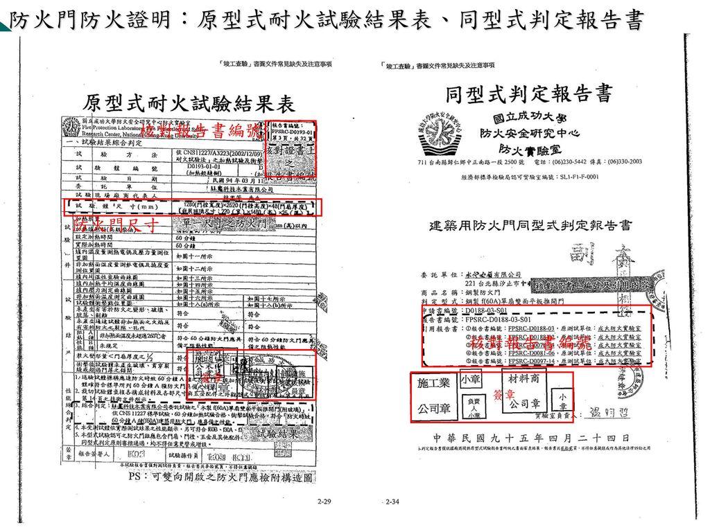 防火門防火證明內容:型式試驗報告書 01. 原型式耐火試驗結果表 02. 同型式判定報告書 03. 同型式判定對照表(一)