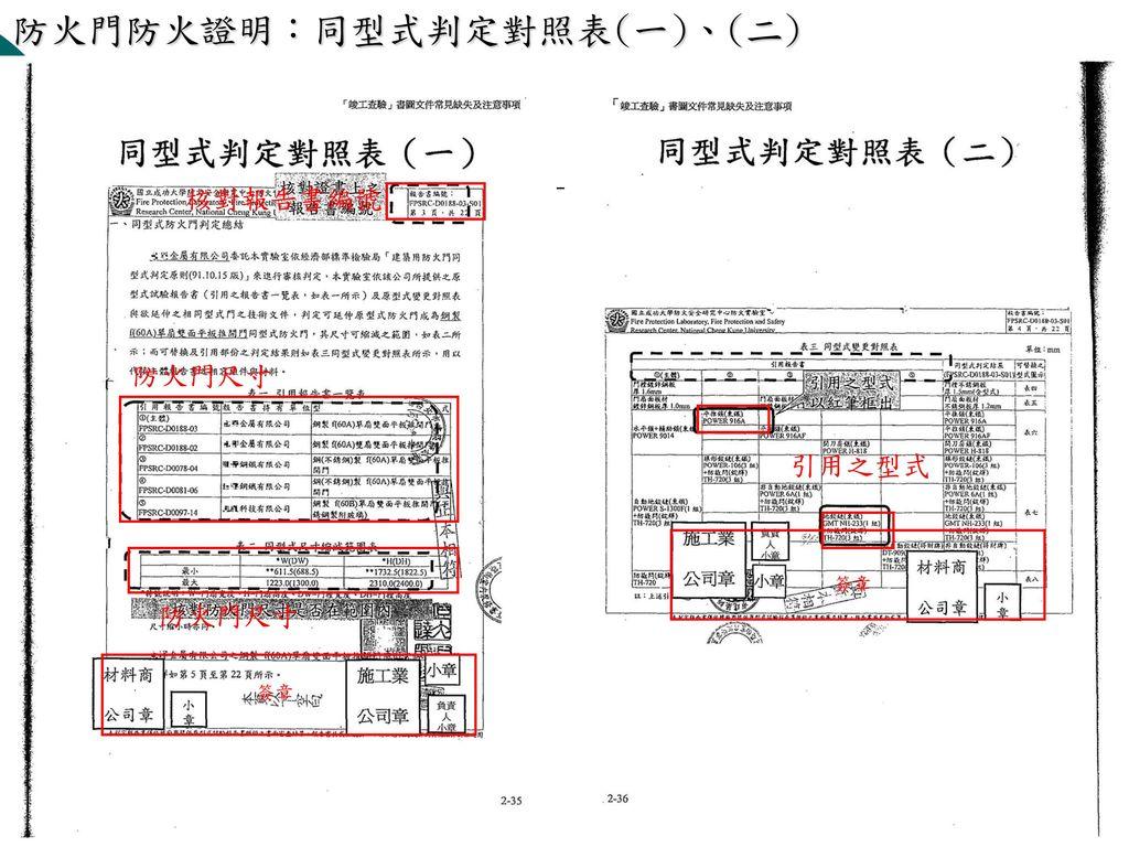 防火門防火證明:原型式耐火試驗結果表、同型式判定報告書