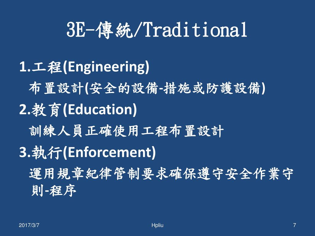 3E-傳統/Traditional 1.工程(Engineering) 2.教育(Education) 3.執行(Enforcement)
