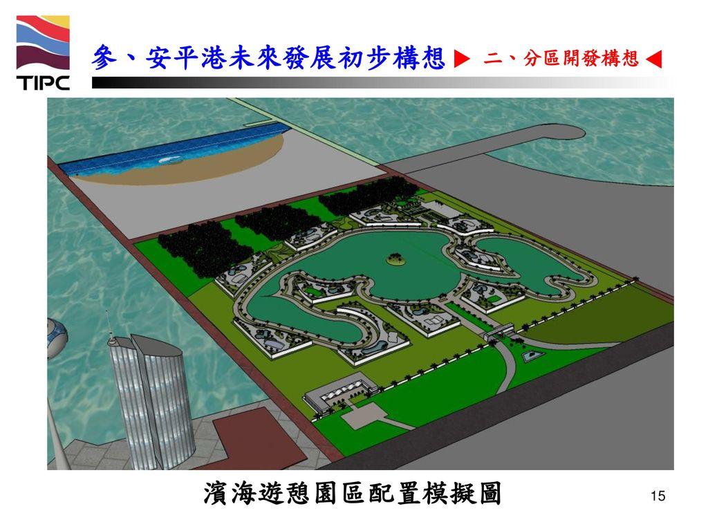 參、安平港未來發展初步構想 二、分區開發構想 濱海遊憩園區配置模擬圖 15