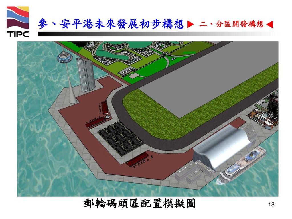 參、安平港未來發展初步構想 二、分區開發構想 郵輪碼頭區配置模擬圖 18