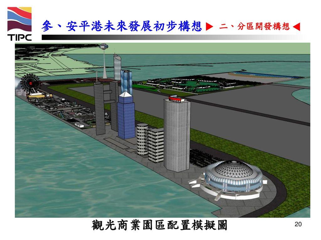 參、安平港未來發展初步構想 二、分區開發構想 觀光商業園區配置模擬圖 20