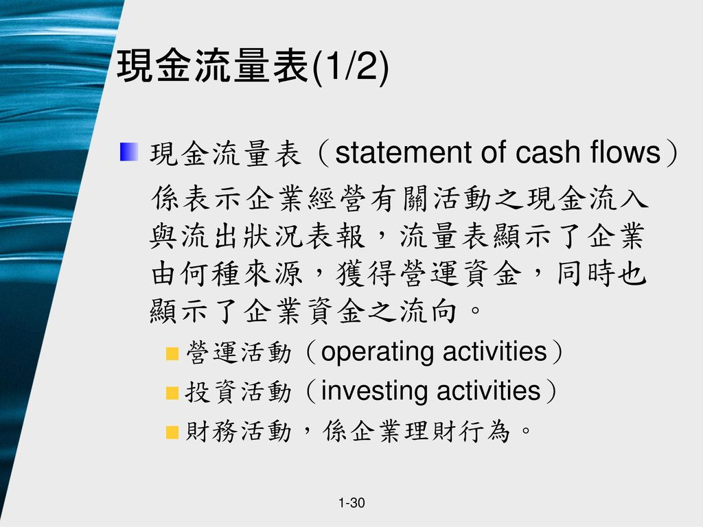 現金流量表(1/2) 現金流量表(statement of cash flows)