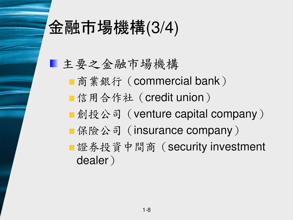 金融市場機構(3/4) 主要之金融市場機構 商業銀行(commercial bank) 信用合作社(credit union)
