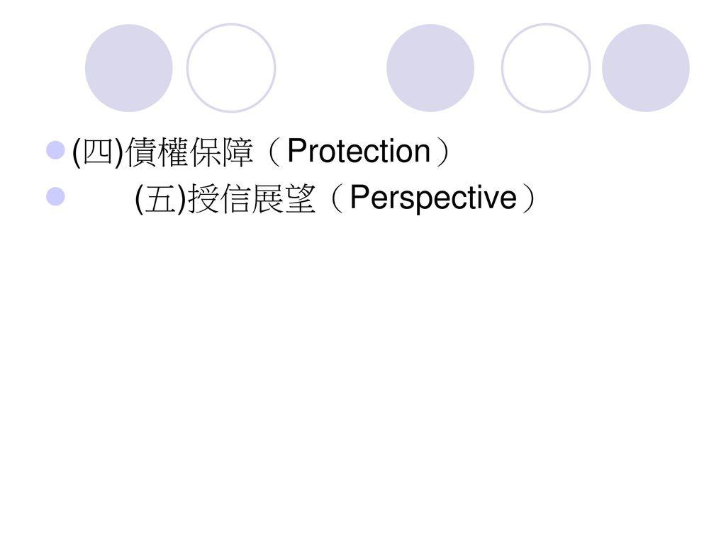 (四)債權保障(Protection) (五)授信展望(Perspective)