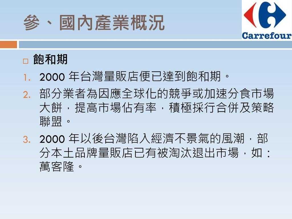 參、國內產業概況 飽和期 2000 年台灣量販店便已達到飽和期。