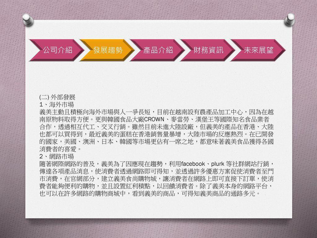 公司介紹 發展趨勢 產品介紹 財務資訊 未來展望 (二) 外部發展 1、海外市場