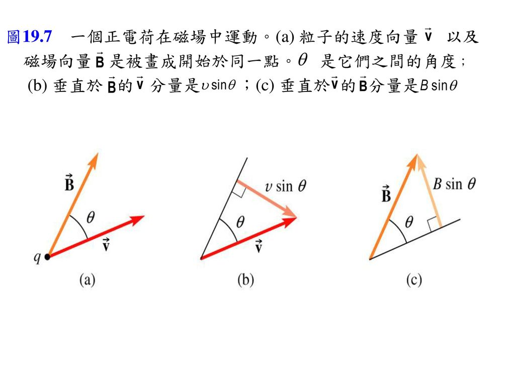 圖19.7 一個正電荷在磁場中運動。(a) 粒子的速度向量