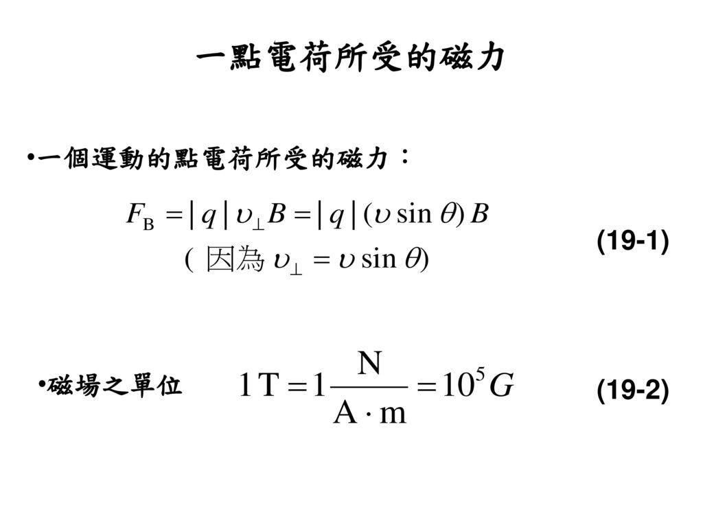 一點電荷所受的磁力 一個運動的點電荷所受的磁力: (19-1) 磁場之單位 (19-2)