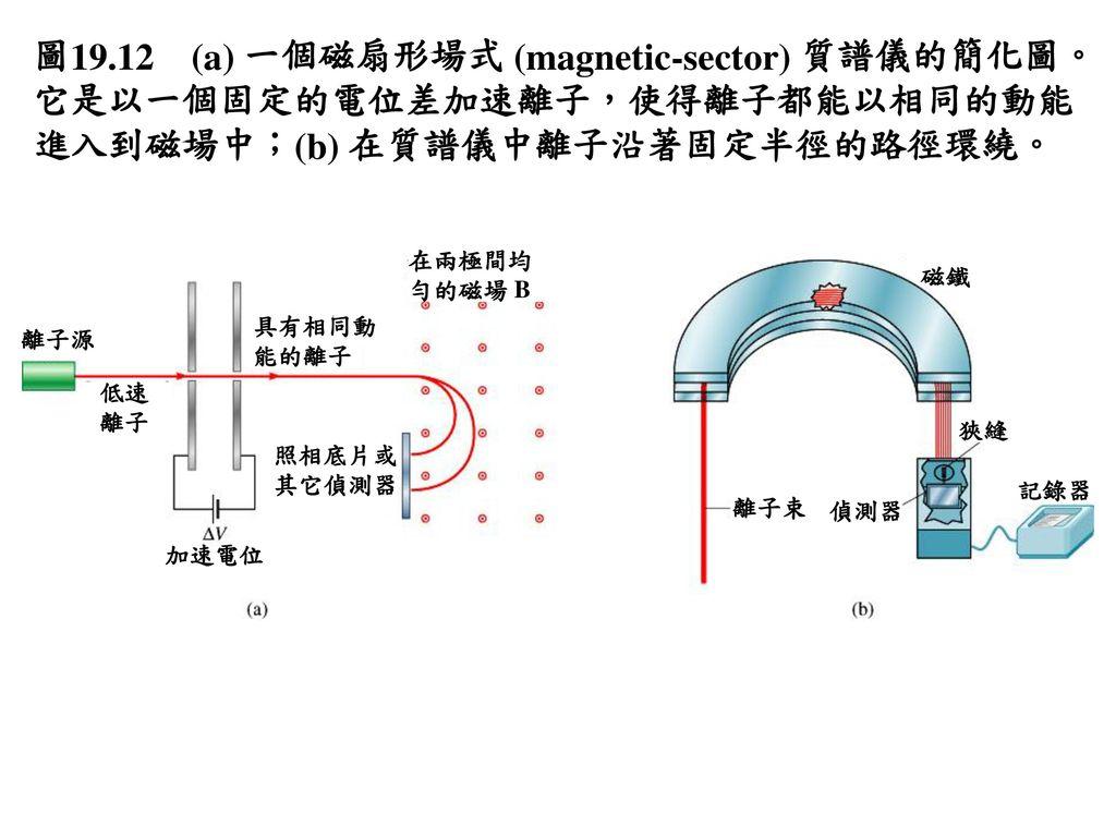 圖19.12 (a) 一個磁扇形場式 (magnetic-sector) 質譜儀的簡化圖。它是以一個固定的電位差加速離子,使得離子都能以相同的動能進入到磁場中;(b) 在質譜儀中離子沿著固定半徑的路徑環繞。