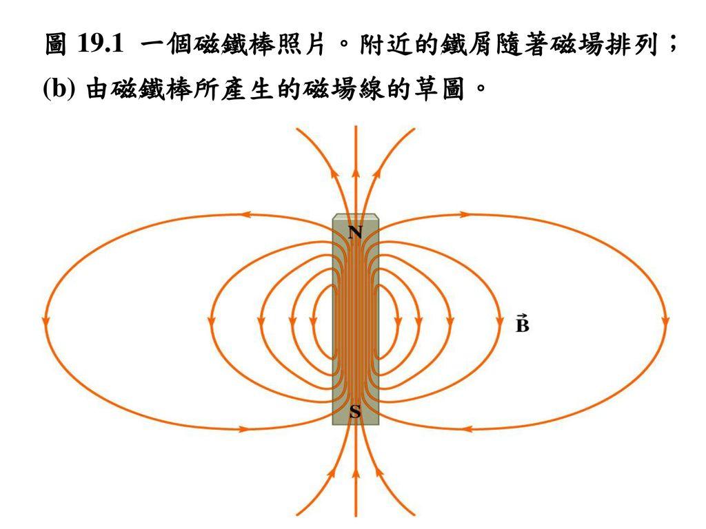 圖 19.1 一個磁鐵棒照片。附近的鐵屑隨著磁場排列;(b) 由磁鐵棒所產生的磁場線的草圖。