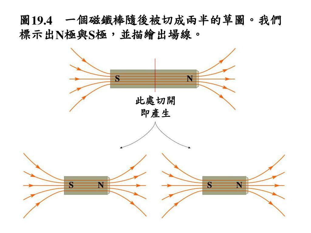 圖19.4 一個磁鐵棒隨後被切成兩半的草圖。我們標示出N極與S極,並描繪出場線。