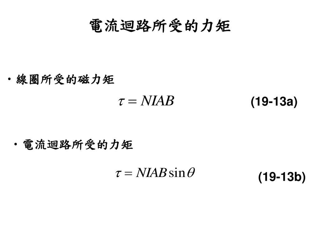 電流迴路所受的力矩 線圈所受的磁力矩 (19-13a) 電流迴路所受的力矩 (19-13b)