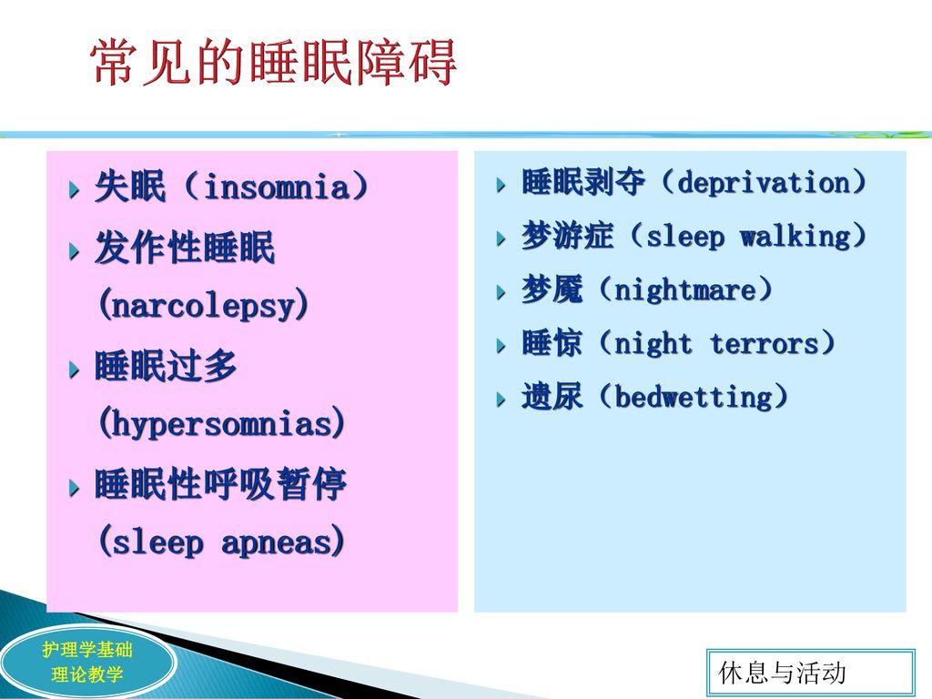 常见的睡眠障碍 失眠(insomnia) 发作性睡眠 (narcolepsy) 睡眠过多 (hypersomnias)