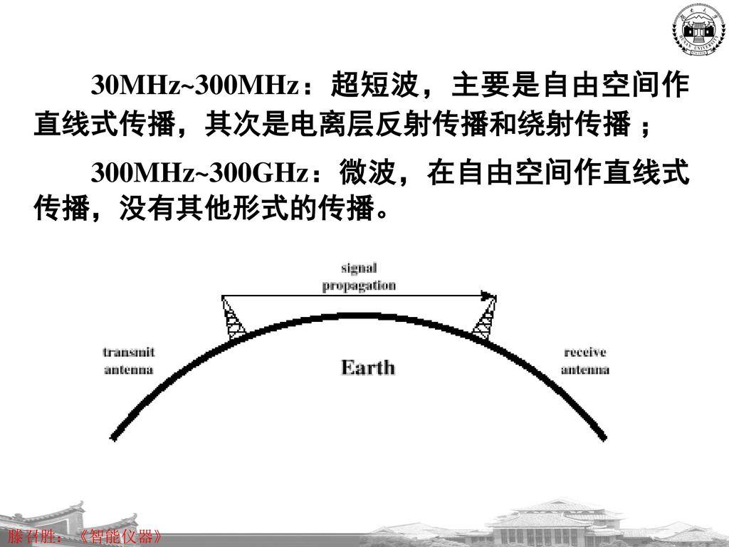 30MHz~300MHz:超短波,主要是自由空间作直线式传播,其次是电离层反射传播和绕射传播 ;