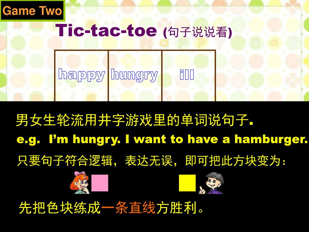 Tic-tac-toe (句子说说看) happy hungry ill sad thirsty tired headache fever