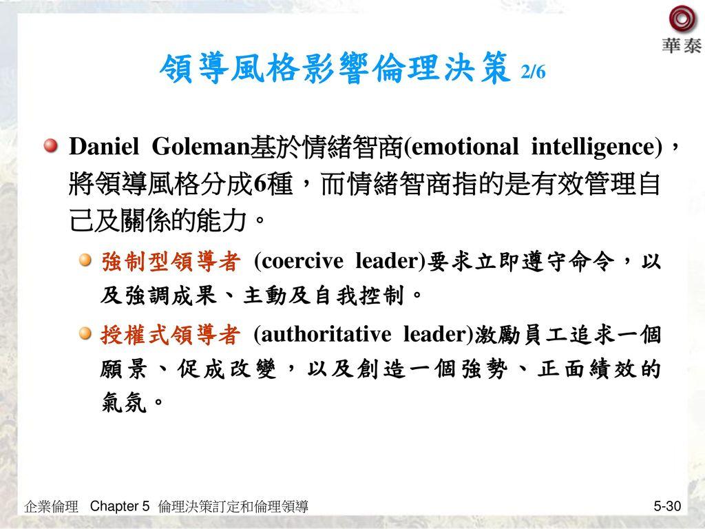領導風格影響倫理決策 2/6 Daniel Goleman基於情緒智商(emotional intelligence),將領導風格分成6種,而情緒智商指的是有效管理自己及關係的能力。 強制型領導者 (coercive leader)要求立即遵守命令,以及強調成果、主動及自我控制。