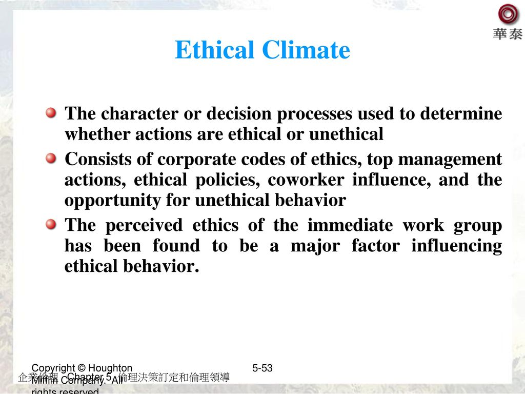 Ethical Climate The character or decision processes used to determine whether actions are ethical or unethical.