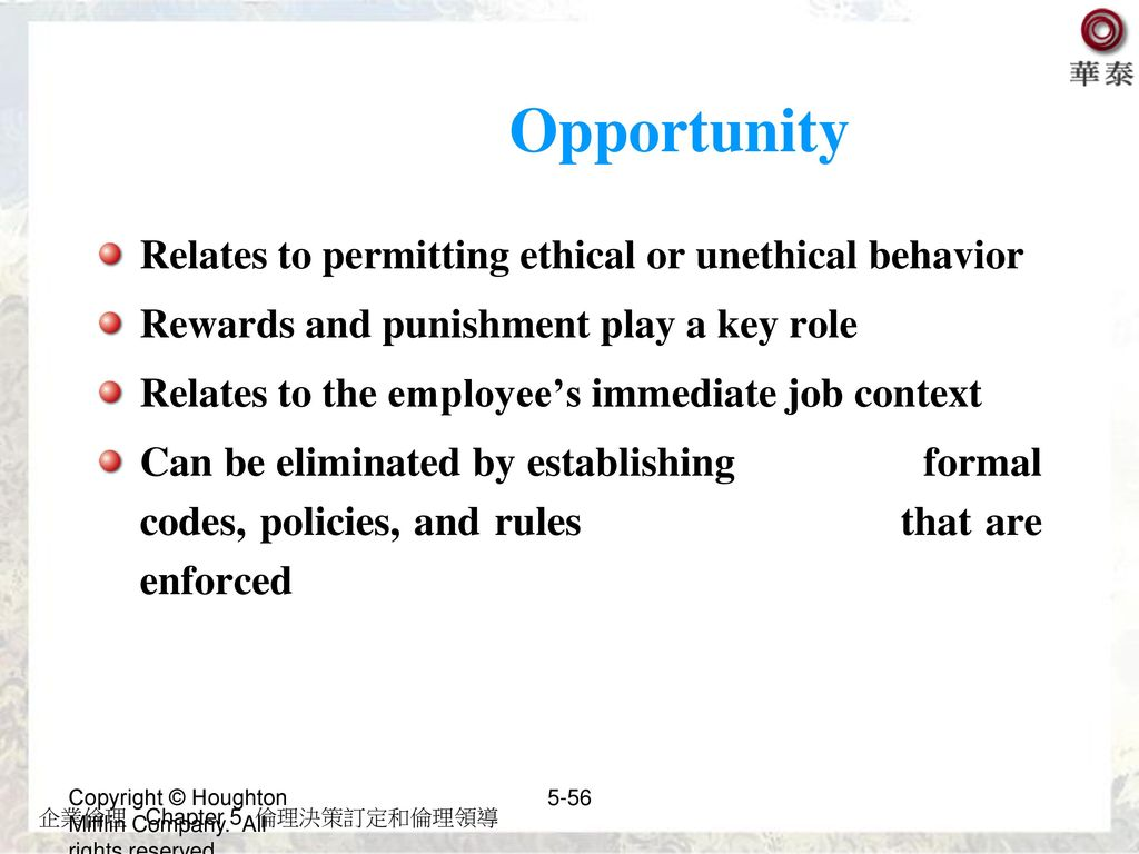 Opportunity Relates to permitting ethical or unethical behavior