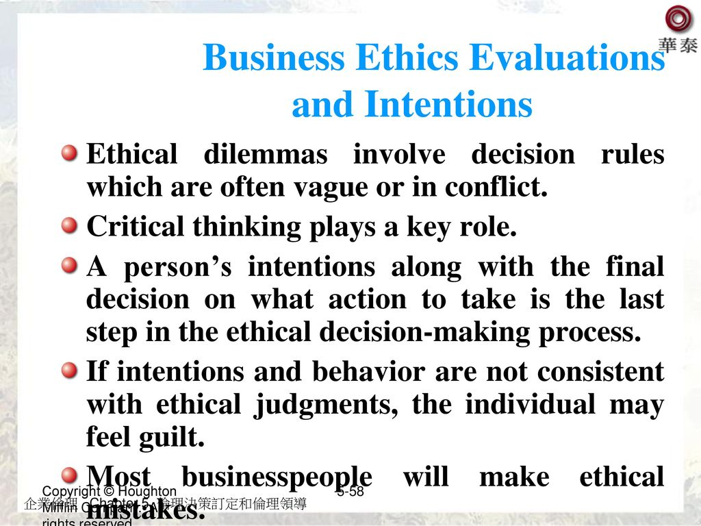 Business Ethics Evaluations and Intentions