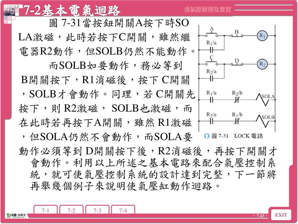 7-2基本電氣迴路 圖 7-31當按鈕開關A按下時SO LA激磁,此時若按下C開關,雖然繼 電器R2動作,但SOLB仍然不能動作。