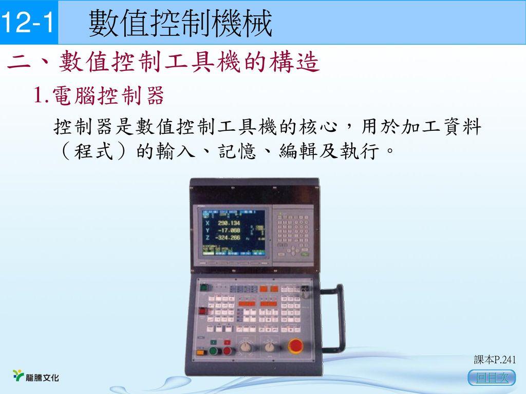 12-1 數值控制機械 二、數值控制工具機的構造 1.電腦控制器
