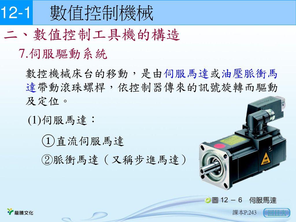 12-1 數值控制機械 二、數值控制工具機的構造 7.伺服驅動系統